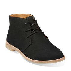 Phenia Desert in Black Nubuck - Womens Boots from Clarks size 8