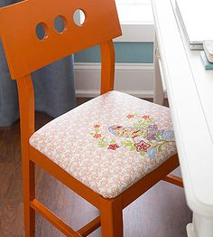 I think I might look for funky dishtowels to recover my dining room chairs with!