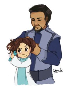 shorelle: Bail would be a pretty rad space dad; here he is helping bb Leia with her hair.