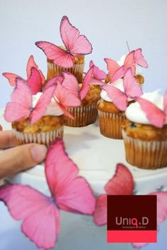 Tessa custom order 70 PINK - GREEN edible butterflies - butterfly decoration - edible cake decoration - wedding favors by Uniqdots on Etsy