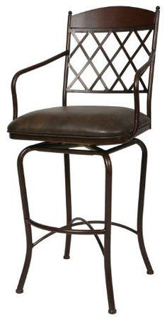 Pastel Furniture NR-219-34-AR-WT-649 Napa Ridge Swivel Barstool, 34-Inch, Autumn Rust with Walnut and Florentine Coffee