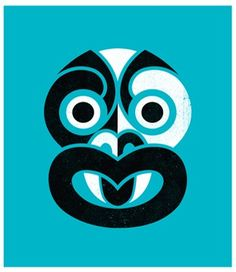 #artprint Phantom Tiki (Teal Blue) by #NewZealand #artist Greg Straight. For more information about NZ visit: www.new-zealand-vacations-in-west-auckland.com