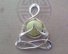 "Little Yogi, ""Namaste""in Silver, Jade, yoga, people, meditation, Lotus, Gasho, Namaskar, mudra, zen, heart chakra, lemurian diamond"