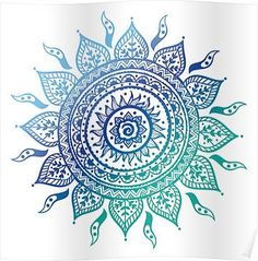 Blue Gradient Mandala Posters
