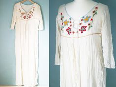 70s Vintage Cheesecloth Maxi Dress with by VioletsAtticVintage, £65.00