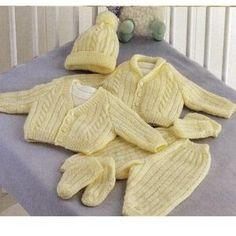 4ply Prem Baby Cable knitting Baby set 3 Premi Baby sizes | Etsy Baby Hat Knitting Patterns Free, Free Knitting, Baby Knitting, Knitted Baby, Nursery Patterns, Baby Patterns, Vintage Patterns, Pram Sets, 4 Ply Yarn