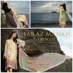 # : Aqua Embroidered front middle panel and embroidered borders. Printed shirt front back and sleeves. Pure chiffon dupatta Rs 6490 #FARAZ-MANAN#CrescentBrandEid Collection Lawn '14. To place an order send message in inbox... For Further queries email faisalfabricsofficial@gmail.com or call us +923333142222 add on WHATSAPP / VIBER +9233-3314-2222…