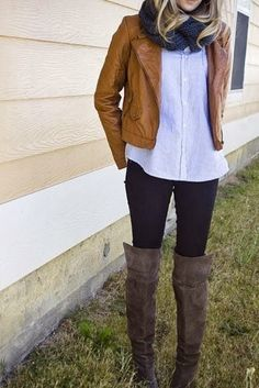 see more Stylish Winter Outfit: Leather Jacket with Black Tights and Cozy Scarf with Leather Boots