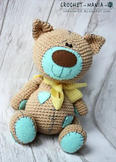 crochet toy teddy cat kitty with patches by crochetmaniaq on Etsy