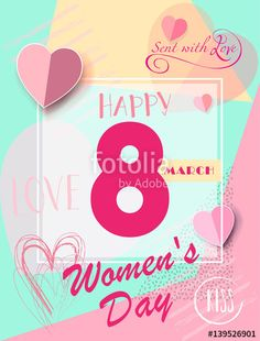 Vector: 8 March Happy Women's Day. Greeting card. 8 March International women's day. Spring Holiday. Futuristic design. Number Eight logo, hearts, stylish background. Trendy