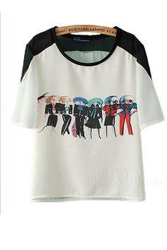 Fashion Short Sleeves Round Neckline Print T-shirt, T-shirt