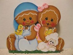 HP Gingerbread Easter Spring ginger couple SHELF SITTER hand painted USA