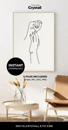 Instant Download, One Line Poster, Minimalist Wall Art Hand Sketch Digital Printable Abstract Line Art Hands Wall Art Love Print One Line Drawing Line Drawing Print Hands Line Drawing Wall art Romantic wall art Line art poster