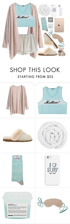"""Mellow!"" by goycotwo ❤ liked on Polyvore featuring UGG Australia, The Fine Bedding Company, Corgi, Casetify, Davines, Row Pinto, Forever 21, teddybear, sleep and sleepwear"