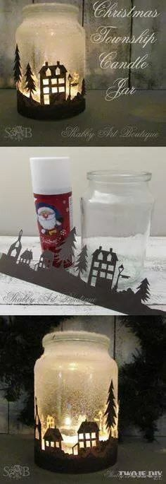 Use your old candle jars to create Christmas Wonderland scenes with paper and spray snow!