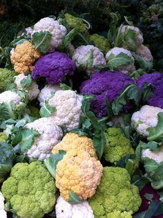 at Portland Farmer's Market, colorful cauliflowers Growing Vegetables, Fruits And Vegetables, World Market, Global Market, Fresh Food Market, Expo Milano 2015, In Natura, Colorful Fruit, Fruit And Veg