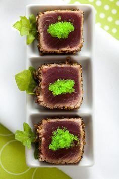seared ahi with what looks like green salmon roe