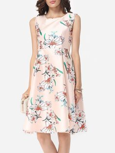 Floral Printed Celebrity Round Neck Skater-dress