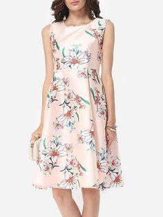 Floral Printed Celebrity Round Neck Skater-dress