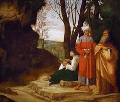 From Wikiwand: The Three Philosophers, Vienna. Attributed to Giorgione by Michiel, who said Sebastiano del Piombo finished it. Some modern writers also involve Titian in its completion.