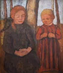"Paula Modersohn-Becker, ""Kneeling Girl and Child in Front of Tree Trunks"" (c. oil on canvas, 31 x 27 in. Paula Modersohn Becker, Female Painters, Figure Poses, Digital Museum, Tree Trunks, Collaborative Art, Spring Art, Teaching Art, Les Oeuvres"
