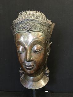 Bronze Buddha head, Ayutthaya. Thailand. 17-18th cent.