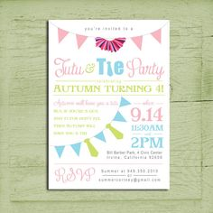 Printable Tutu & Tie Birthday Party Invitation by LoboDesign, $15.00