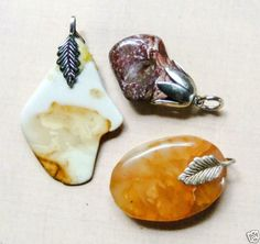 Gemstone-Pendants-Jasper-and-Citrine-Three-Polished-25mm-32mm-50mm