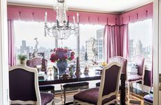 Inside the stunning home of the Ultimate A-list decorator: Alex Papachristidis. An array of purple hues turns the dining room into a jewel box. The living and dining room floors feature complementary parquet patterning, each created with a stencil. Photo by Lesley Unruh. One Kings Lane Designer Houses.
