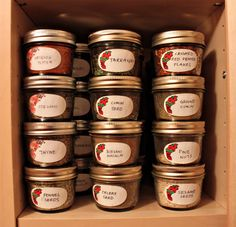My Spice Organization - small canning jars - stack perfectly and easy to fill with bulk spices