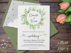 printable green wedding invitation greenery wedding