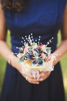 Paper wedding bouquet idea - modern + colorful bouquet made up of pretty, multi-colored paper flowers {Heidi Ryder Photography} Origami Bouquet, Paper Bouquet, Wedding Bridesmaid Bouquets, Flower Bouquet Wedding, Blue Bouquet, Boquet, Wedding Dresses, Origami Wedding, Diy Wedding