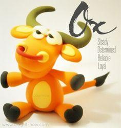 #OX figurine - 12 animals in Chinese Zodiac, ox clay, cute ox