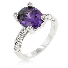 Genuine Rhodium Plated Anniversary Ring with an Oval Cut Amethyst Purple Cubic Zirconia Center Stone Accented by Clear Cubic Zirconia Polished into a Lustrous Silvertone Finish Vintage Anniversary Rings, Anniversary Ideas, White Sapphire, Fashion Rings, Gold Fashion, Band Rings, Natural Gemstones, Gift, Heart Ring
