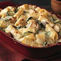 Creamy Zucchini and Spinach Rigatoni.  no mushrooms... just squash and zucchini.  and bowtie pasta.