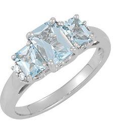 1.17 Carat Three-Stone Emerald-Cut Aquamarine Ring, 14K White Gold -