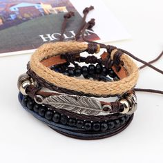 4 types Wood Beads Woven Leather Bracelet Leaf Pendant Unisex Bangle Chain at Banggood  #women #men #fashion #jewelry #watches