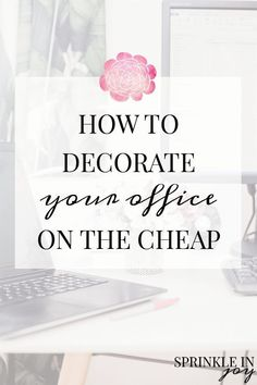 How To Decorate Your Office On The Cheap Create a welcoming office space you'll love, using these simple, inexpensive ideas. After all, we do spend 8 hours at work—make the best of it and take steps to feel more at home! Great ideas if you're on a budget. Work Desk Decor, Small Office Decor, Small Office Design, Home Office Design, Decorate Desk At Work, Decorating Office At Work, Therapy Office Decor, Chic Office Decor, Office Ideas For Work