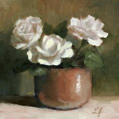 "Daily Paintworks - ""Roses in White"" - Original Fine Art for Sale - © Linda Jacobus"