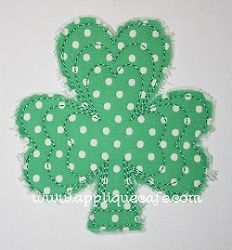 Raggedy Shamrock Applique - 3 Sizes!   St. Patrick's Day   Machine Embroidery Designs   SWAKembroidery.com Applique Cafe