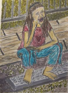 What can be better than an ice cold ice cream on a hot Summer's day?  I love the innocence of the girl's relaxed posture.  Pencil, charcoal and water-solubles on paper.