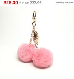 New light pink cherry design only by Fur Keychain, Tassel Keychain, Louis Vuitton Keychain, Pom Pom Bag Charm, Pom Pom Crafts, Unique Bags, Fur Pom Pom, Jewelery, Fashion Accessories