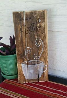 Coffee sign. Coffee bar decor. Rustic wood sign. Coffee cup. Reclaimed wood.