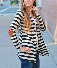 Another great find on #zulily! So Perla Navy Stripe Elbow Patch Cardigan by So Perla #zulilyfinds