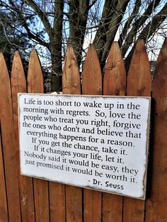 "Custom Carved Wooden Sign - ""Life is too short to wake up with regrets. So, love the peole who treat you right ."" - Haylees Closet creates custom carved wooden signs for that perfect personalized addition to your ho - The Words, Inspirierender Text, Great Quotes, Inspirational Quotes, Motivational Poems, Super Quotes, Awesome Quotes, Quotable Quotes, Funny Quotes"
