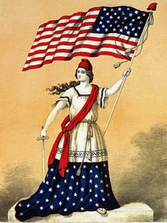 Vintage 4th of July Clip Art - Lady Liberty with Flag - The Graphics Fairy