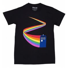 Men's Black Doctor Who TARDIS Rainbow T-Shirt ($21) ❤ liked on Polyvore featuring men's fashion, men's clothing, men's shirts, men's t-shirts and mens t shirts