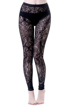 Killstar Empyrean Lace LeggingsThe awesome Empyrean leggings from Killstar feature their gorgeous custom black lace. With a black on black branded waistband, these stunning leggings have quite a bit of stretch to them and are a great way to add a . Lace Leggings, Tight Leggings, Leggings Sale, Cheap Leggings, Ripped Leggings, Tights, Patterned Leggings, Rock And Roll, Streetwear