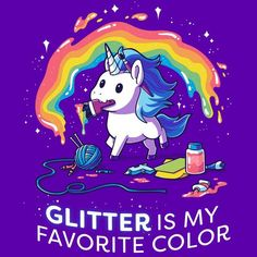 Glitter for every occasion. Get the purple Glitter is My Favorite Color t-shirt only at TeeTurtle! Exclusive graphic designs on super soft cotton tees. Real Unicorn, Unicorn Art, Magical Unicorn, Cute Unicorn, Rainbow Unicorn, Unicorn T Shirt, Chibi Unicorn, Unicorn Drawing, Cute Animal Drawings