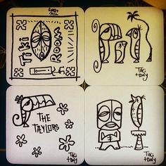 Tropical Outdoor Decor, Tiki Lounge, Tiki Art, Drawing Sketches, Drawings, Maori Art, Fantasy Island, Tiki Room, Print Ideas
